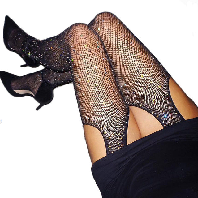 Glitter Fishnet Tights Open Crotch Mesh Pantyhose