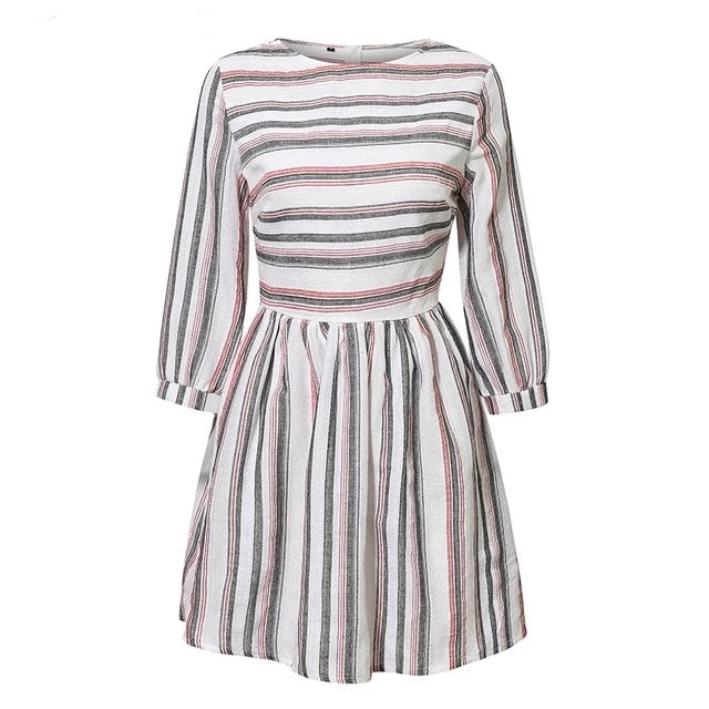 Striped O Neck A-line Short Dress