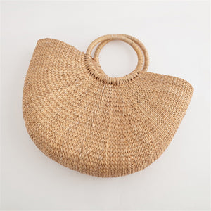 Half Round Straw Beach Handbag