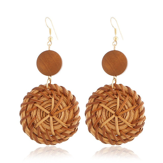 Ethnic Leopard Rattan Earrings