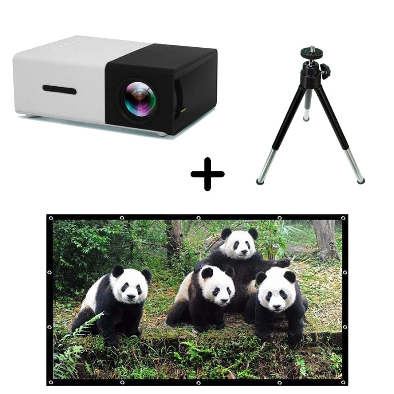 Mini Projector / Tripod / Projector Screen Bundle