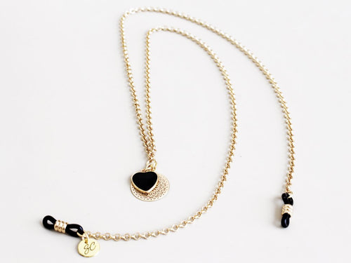 Sunny Cords - Georgi Gold Sunglasses Chain - Black Heart