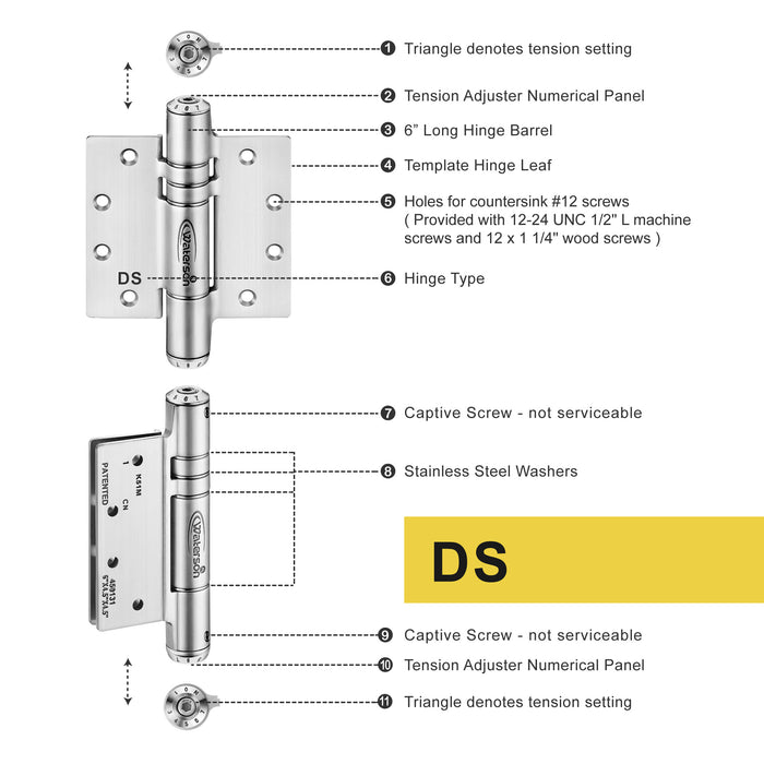 "K51M-500D-D3 | Hydraulic Hybrid Self Closing Hinge | 5"" x 5"" 