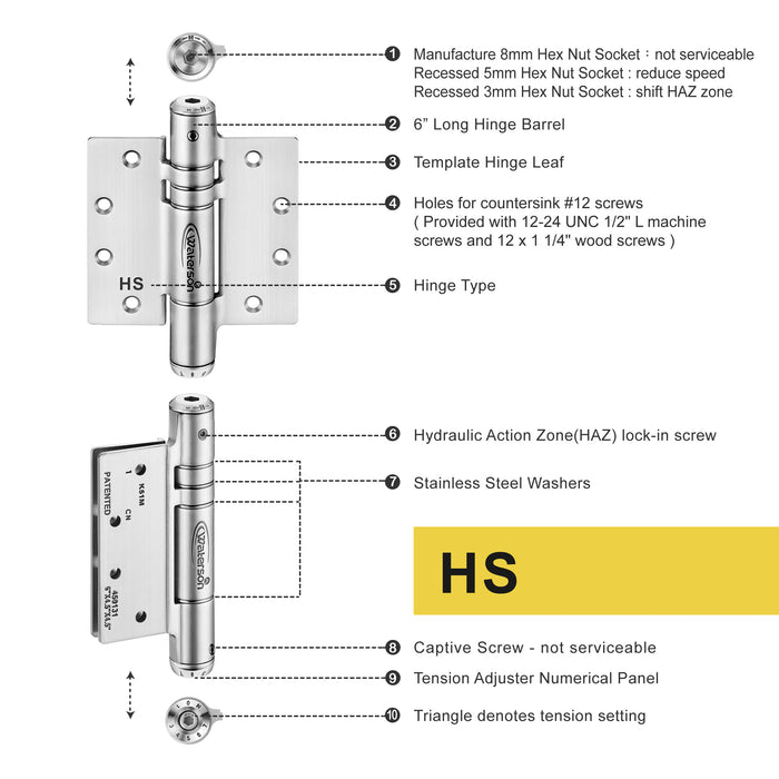 W41M-400-B2  | Hydraulic Hybrid Self Closing Hinge | 4 x 4 | Garage Door Aluminum Mortise hinge | 2 Pack