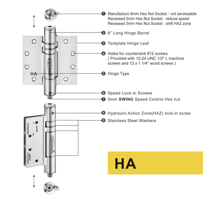 "K51M-500D-D4 | Hydraulic Hybrid Self Closing Hinge | 5"" x 5"" 