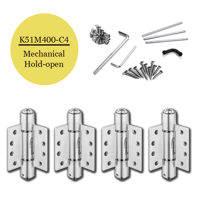 "K51M-400-C4 | Mechanical Adjustable Self Closing Hinge | 4.0"" x 4.0"" 