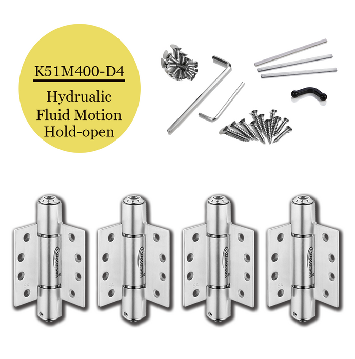 "K51M-400-D4 | Hydraulic Hybrid Self Closing Hinge | 4.0"" x 4.0"" 