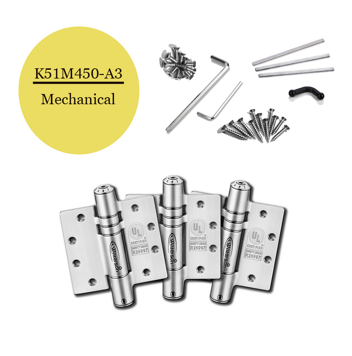 "K51M-450-A3 | Mechanical Adjustable Self Closing Hinge | 4.5"" x 4.5"" 