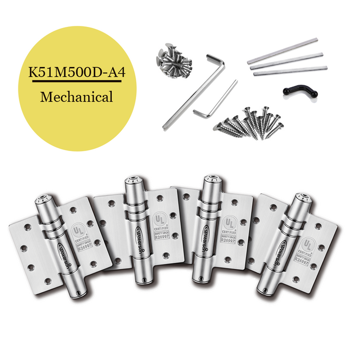 "K51M-500D-A4 | Mechanical Adjustable Self Closing Hinge | 5"" x 5"" 