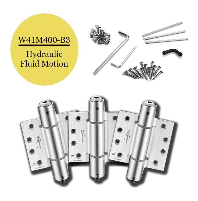 W41M-400-B3  | Hydraulic Hybrid Self Closing Hinge | 4 x 4 | Garage Door Aluminum Mortise hinge | 3 Pack