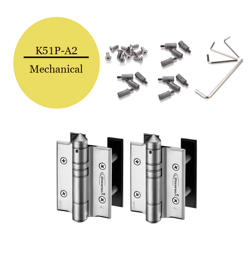 K51P-A2  | Mechanical Adjustable Gate Closer Hinges |Stainless Steel 304 - Full Surface | 2 Pack - selfclosing