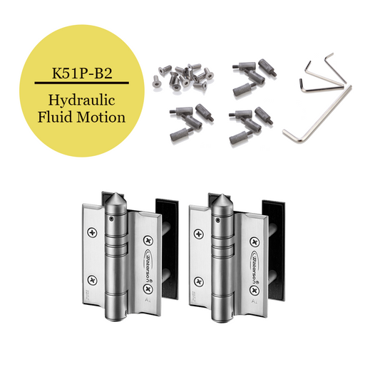 K51P-B2  | Hydraulic Hybrid Gate Closer Hinges |Stainless Steel 304 - Full Surface | 2 Pack - selfclosing