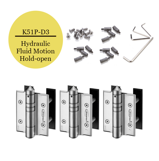 K51P-D3  | Hydraulic Hybrid Gate Closer Hinges |Stainless Steel 304 - Full Surface | 3 Pack - selfclosing