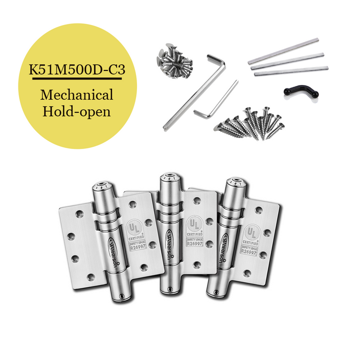 "K51M-500D-C3 | Mechanical Adjustable Self Closing Hinge | 5"" x 5"" 