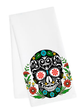 Sugar Skull with flowers Tea Towel