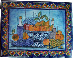 Fruit Bowl Bodegon Clay Talavera Tile Mural