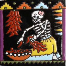 Load image into Gallery viewer, The Chile Trensas Day Of The Dead Clay Tile