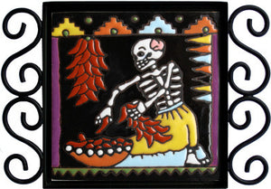 The Chile Trensas Day Of The Dead Clay Tile