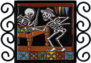 Playing Billiards Day Of The Dead Clay Tile