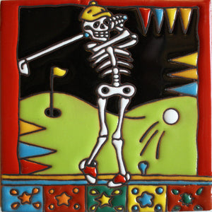 Golfing Time Day Of The Dead Clay Tile