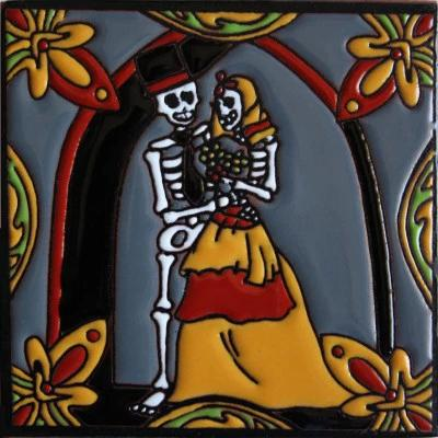 Wedding Day Of The Dead Clay Tile