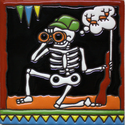 Hunting Day Of The Dead Clay Tile