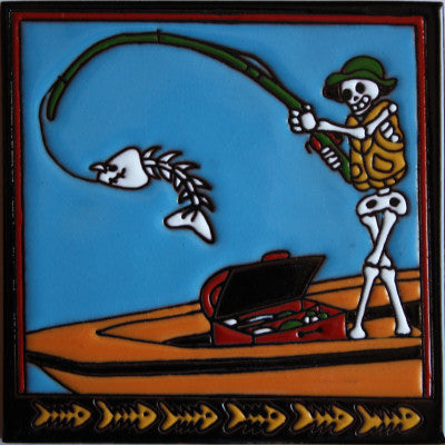 Fishing Day Of The Dead Clay Tile