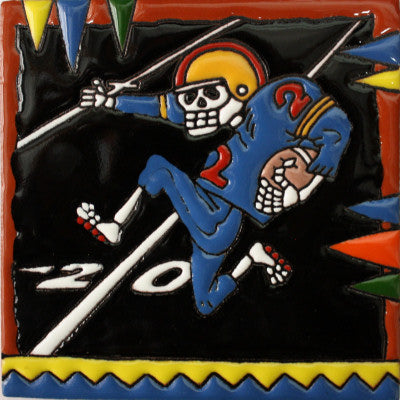 Football Player Day Of The Dead Clay Tile