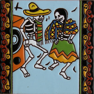 The Dancers Day Of The Dead Clay Tile