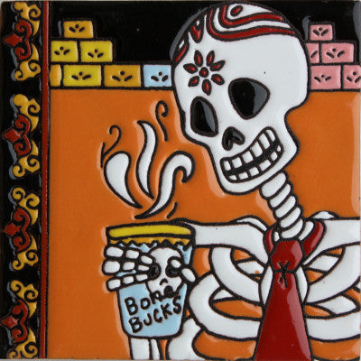 Coffee Time Day Of The Dead Clay Tile