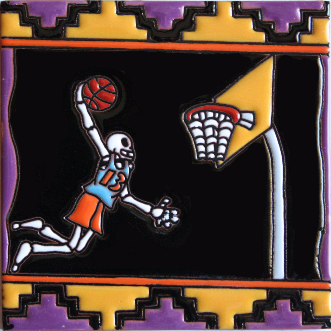 Basketball Time Day Of The Dead Clay Tile