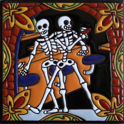 Wine Tasting Day Of The Dead Clay Tile