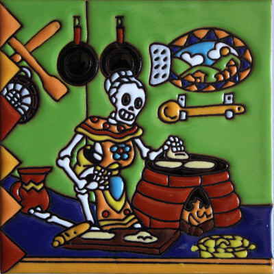 Tortilla Maker Day Of The Dead Clay Tile