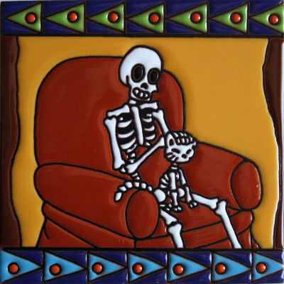 Cat Lover Day Of The Dead Clay Tile