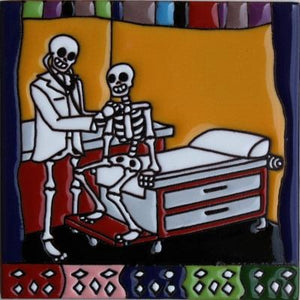 Doctor Visit Day Of The Dead Clay Tile