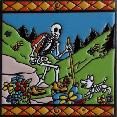 Hiking Time Day Of The Dead Clay Tile
