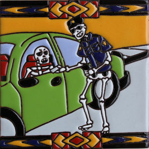 The Police Officer Day Of The Dead Clay Tile