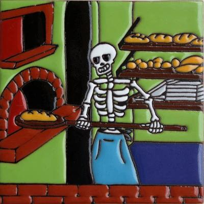 The Baker Day Of The Dead Clay Tile