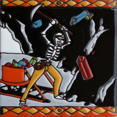 The Miner Day Of The Dead Clay Tile