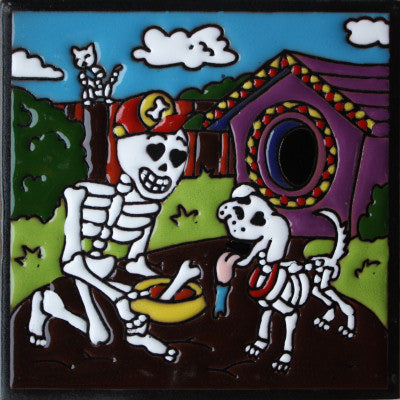 Dog Lover Day Of The Dead Clay Tile