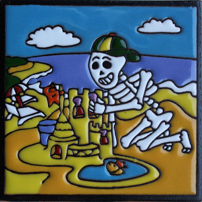 Sandcastle Day Of The Dead Clay Tile