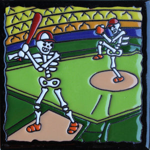 Baseball Time Day Of The Dead Clay Tile
