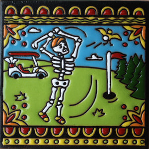 Golf Day Of The Dead Clay Tile