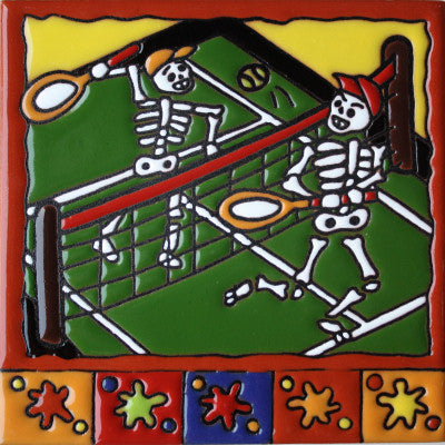 Tennis Day Of The Dead Clay Tile