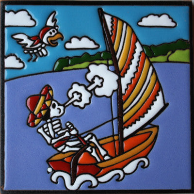 Sailing Day Of The Dead Clay Tile