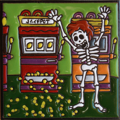 Jackpot Winner Day Of The Dead Clay Tile