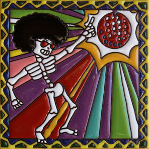 Disco Dancer Day Of The Dead Clay Tile