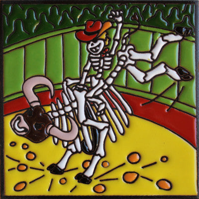 Bull Rider Day Of The Dead Clay Tile