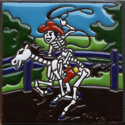 Rodeo Time Day Of The Dead Clay Tile