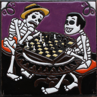 Chess Players Day Of The Dead Clay Tile
